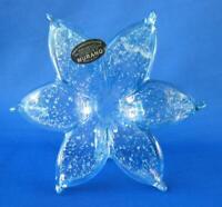 Genuine Italian Murano Flower Blown Glass light blue Italy 329