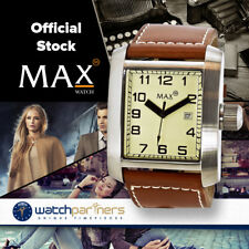 MAX CLASSIC SQUARE WATCH YELLOW DIAL BROWN LEATHER STRAP 40X42mm 5-MAX360