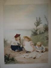 Edwin ROBERTS (1840-1917) IMMENSE GRAVURE SCENE ENFANTINA PIQUE NIQUE MER JEUX