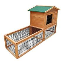 Double Storey Pet Rabbit Guinea Pig Chicken Run Cage House Hutch Coop w/ Ramp