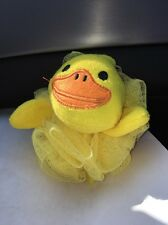 Yellow Ducky Duck Bath Time Sponge Washing Poofie mesh scrubby ages 2+-SHIPS N24