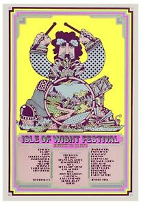 Classic Rock: Jimi Hendrix at Isle of Wight Concert Poster 1970   13x19