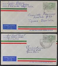 Pair of 60s Mexico Postal Stationery 50c Airmail Covers to US Consulate, Tijuana