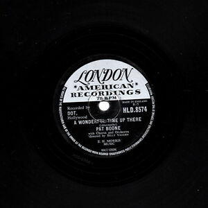 UK 1958 No. 2  PAT BOONE 78  A WONDERFUL TIME UP THERE  UK LONDON HLD 8574 V+/E-
