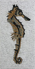 Seahorse Mural on White Tesserae Background Marble Mosaic