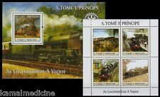 S.Tome e Principe MNH MS+SS, Steam Locomotives, Train, Railways, Rotary Club (T)