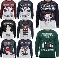Men's Christmas Novelty Jumper Funny Greatest Snowman Xmas Sweater Top NEW