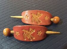A pair of vintage mini wooden hairpin