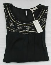 Ladies Marks and Spencer Black Top Gold Bead and Sequin Detail Size 16