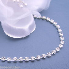 "7"" Crystal Bracelet Bridal Wedding Bridesmaid Gift Prom RHINESTONE 1 row B72 new"