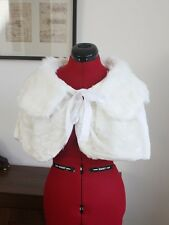 UK IVORY Wedding Prom Faux Fur Wrap Jacket Stole Shawl / Bolero Size 8-14 M P185
