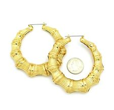 """NEW CELEBRITY STYLE 3.25"""" BAMBOO HOOP HOLLOW PIN-CATCH FASHION EARRING FXE1118"""
