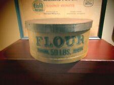"""New listing Farmhouse Primitive Round Pantry Box """"Flour - 50 Lbs."""""""