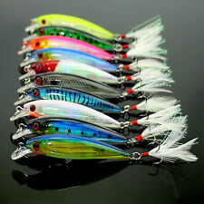 Lot 10pcs Kinds of Fishing Lures Crankbaits Hooks Minnow Baits Tackle Crank ~US