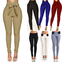 Women's High Waist Skinny Leggings Pants Stretch Slim Pencil Trousers Jeggings