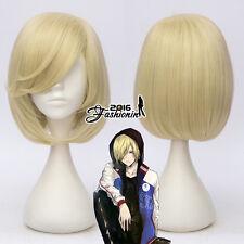 YURI! on ICE Yurio 12'' Blonde Short Wavy Anime Cosplay Wig Heat Resistant +Cap