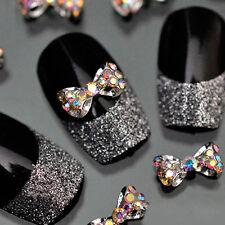 10Pcs Crystal Rhinestone Bow Knot Glitter Rhinestone Nail Art Tips 3D Stickers