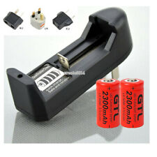 2300mAh 16340 CR123A Rechargeable Li-ion Batteries For Flashlight Laser+Charger