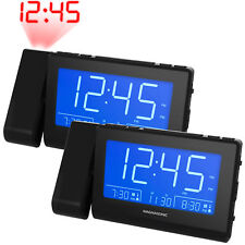 Magnasonic Alarm Clock Radio with Time Projection, Auto Dimming - 2 Pack