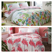 Flamingo /  Leila Duvet Quilt Cover & Pillow Case Bedding Set Pink Floral Leaf