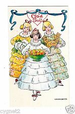POSTCARD SWEDISH CHRISTMAS 3 GIRLS SIGNED SCHONBERG (MINI SIZE CARD)