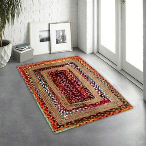 Jute & Cotton Rugs Natural Hand Braided Bohemian living area vintage look Rugs