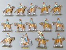 14 Zinnfiguren  ca 4,5 cm Soldaten + Königin  Flachfiguren @ blaue Uniform # 31