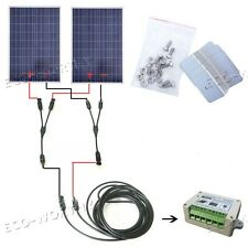 2x160W 320W Watts Solar Panle Kit fit for 12V Battery Home Camping Power Supply