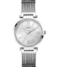 AUTHENTIC GUESS LADIES' SOHO WATCH SILVER TONE RRP:$429 W0638L1 Brand New