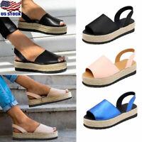 Womens Peep Toes Flatform Heels Sandals Summer Beach Espadrilles Shoes Size 6-9