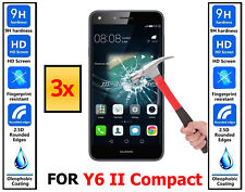 3x Genuine 100% TEMPERED GLASS HD Screen Protector For Huawei Y6 II Compact