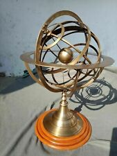 Vintage Brass Armillary Sphere Engraved Nautical Astrolabe Rashi With Wood Base