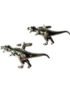 T rex Cufflinks, Handmade in England from English Pewter.  tyrannosaurus rex