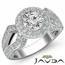 Round Cut Diamond Halo Pave Set Engagement Ring GIA F VS2 18k White Gold 2.92ct