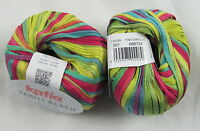 50% OFF! 50g Katia TAHITI BEACH Colorful Spring Summer Cotton Ribbon Yarn #307