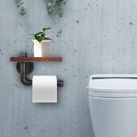US Toilet Paper Holder Wall Mounted Rack Tissue Roll Bathroom Washroom Wooden