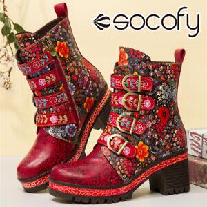 SOCOFY Women Leather Floral Buckle Ankle Boots Warm Flannel Platform Shoes Blo