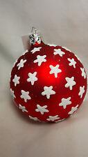 "2.5"" Christborn Germany Mercury Glass Patriotic Red White Star Ball Ornament NWT"