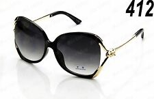 New Womens Retro Vintage Designer Sunglasses Fashion Shades Black Gold Large Big