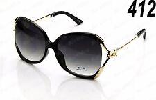 New Womens Retro Vintage Designer Sunglasses Fashion Shades Black Gold Large Big