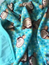 Teal Monkey Fleece Blanket w/ Chenille Minky 42X36 Baby thru child sized afghan