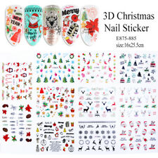 / 11pcs 3D Stickers For Nails Christmas Snowflakes Deer Flowers Decal Nail Art