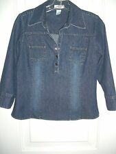 Women's Old Navy Denim Cotton-3/4 Sleeves Shirt/Fitted/Size XS