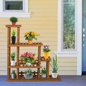Wood Plants 5-Tier Stand Flower Pots Shelf Rack Indoor Outdoor for Plants