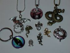 New Listing10 Piece Dragon Necklace/Pendant/Keychain & Small Charm Jewelry Lot