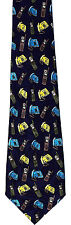 Phones All Over Mens Neck Tie Telephone Blue Necktie Cell Mobile Land Phone New