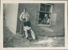 Photo group Of  Royal Navy sailors At Bramcote Base 1950 3.25 x 2.5 inches