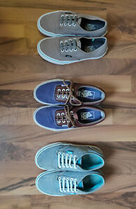 VANS ORIGINAL womens youth denim canvas leather sneakers US 5,5 6,5 7 LOT 3 pair