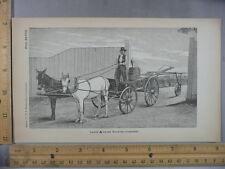 Rare Antique Orig VTG Large A-Frame Machine Horse Cart Farm Illustration Print