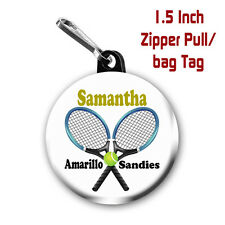 Two Tennis Zipper Pull/Bag Tags Personalized with Name and Team or Club